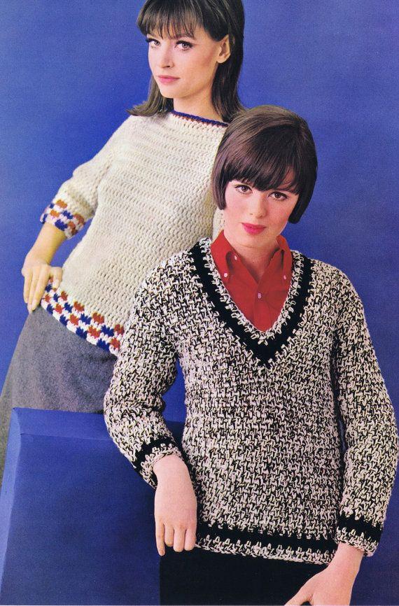 Pdf Of Minervas V Neck Striped Raglan Sweater Vintage Crochet