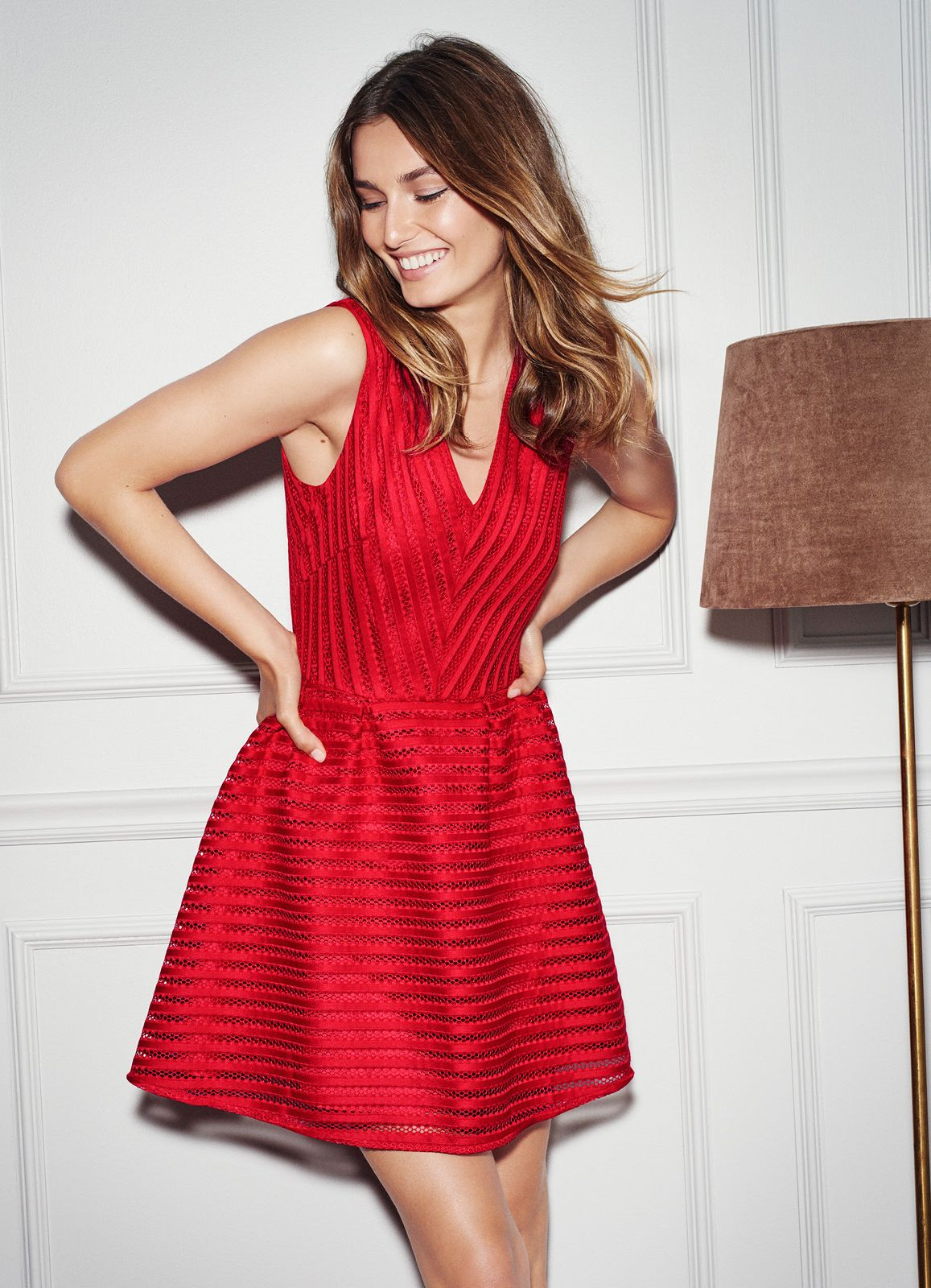 H M Red Dress Fashion Woman Dresses Line