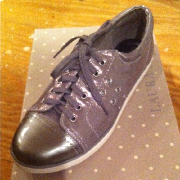 """Laura Ashley rugby tennis shoes silver new 7M Laura Ashley rugby tennis shoes metallic  silver new 7M.   Give an edge to your wardrobe with these Laura Ashley Women's """"Rugby"""" Casual Sneakers that will pair well with all of your favorite jeans.  Original: $69.00 laura ashley  Shoes Athletic Shoes"""