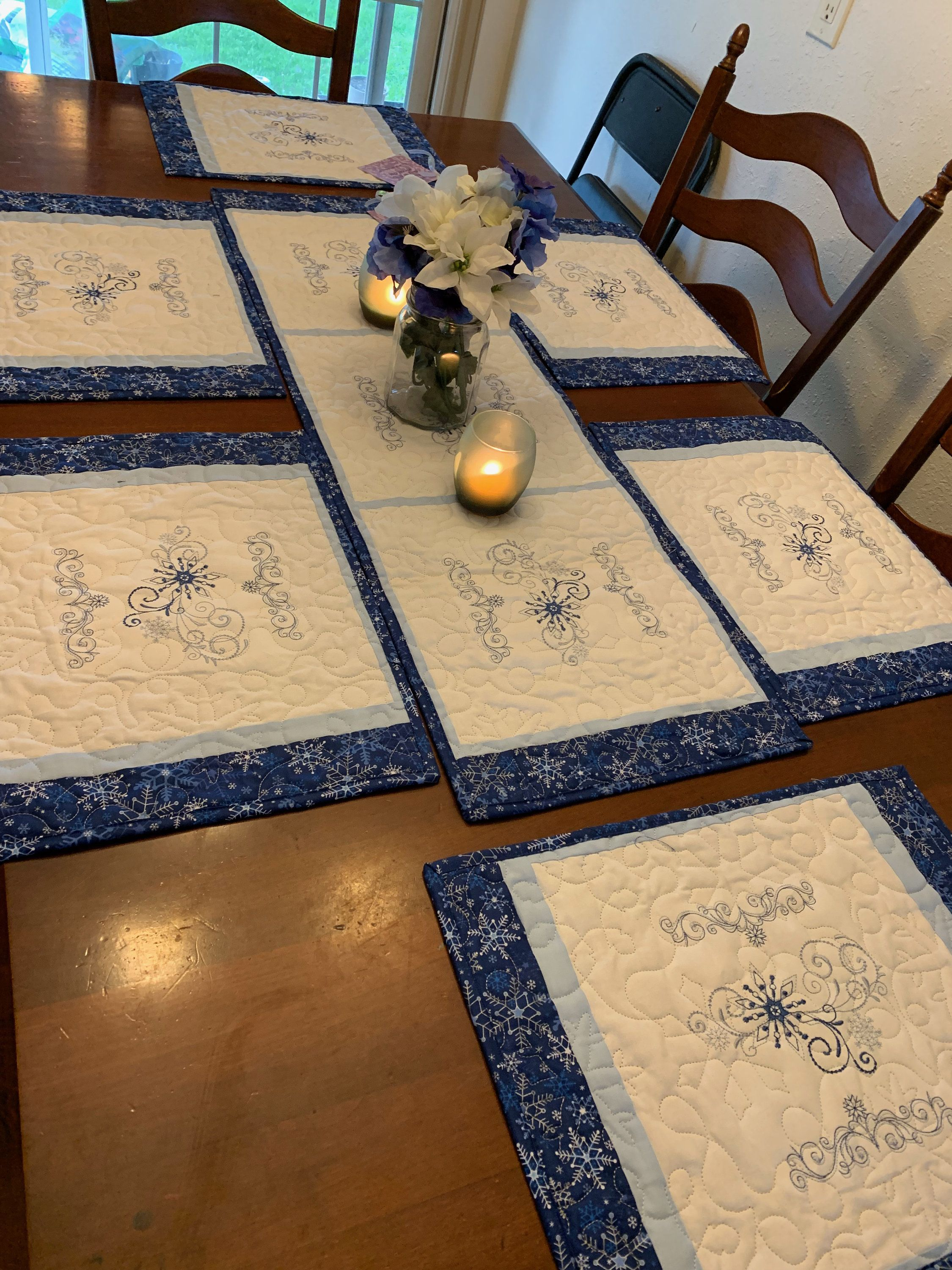 Farmhouse Deco Set of 6 Placemats Gift for Her,Quilt Housewarming Gift Steampunk Placemat Mother/'s Day Gift Placemats Patchwork Quilt