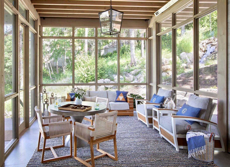 21 Beautiful And Inspiring Farmhouse Sunroom Decorating Ideas In 2020 Sunroom Designs Rustic Sunroom Lake House Interior