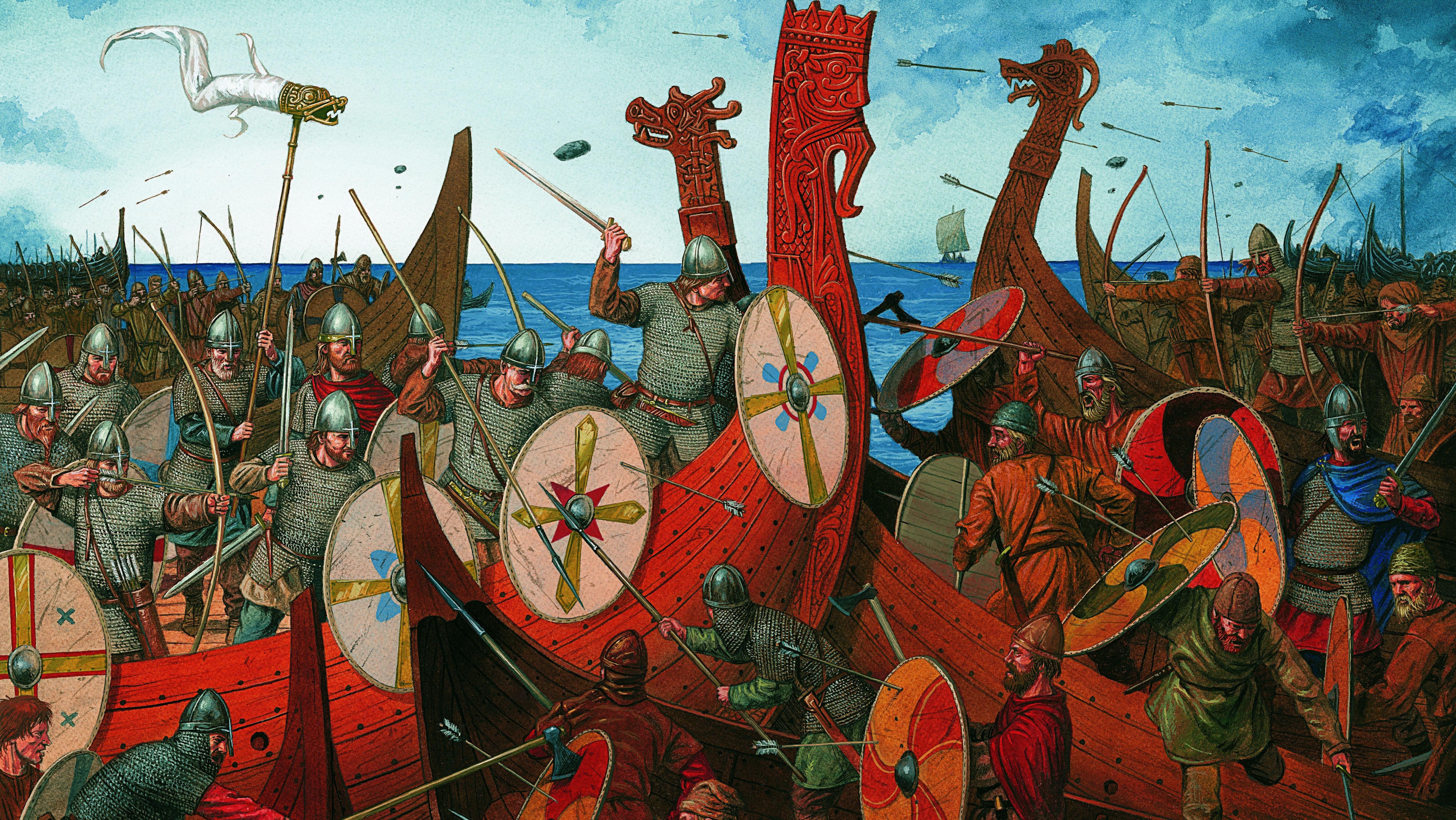 Viking Age Sea Battle Dragon Ships Drakkar In Old Norse