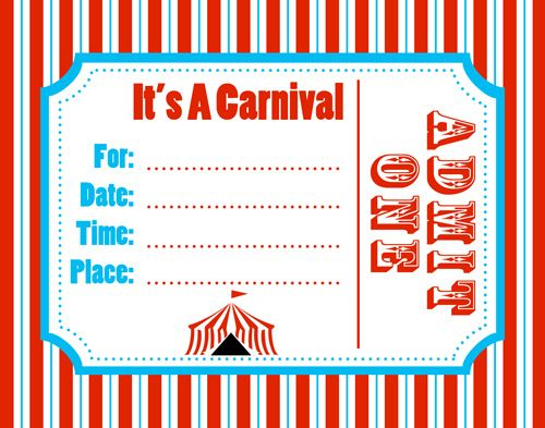 Carnival Invitation Template Best Template Collection – Free Printable Carnival Birthday Invitations