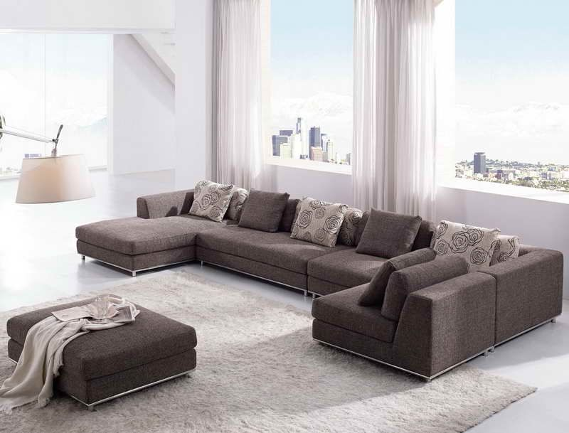 Stylish Large U Shaped Sectional Sofa With Warm Ivory Rug And Sheer Living Room : large u shaped sectional - Sectionals, Sofas & Couches