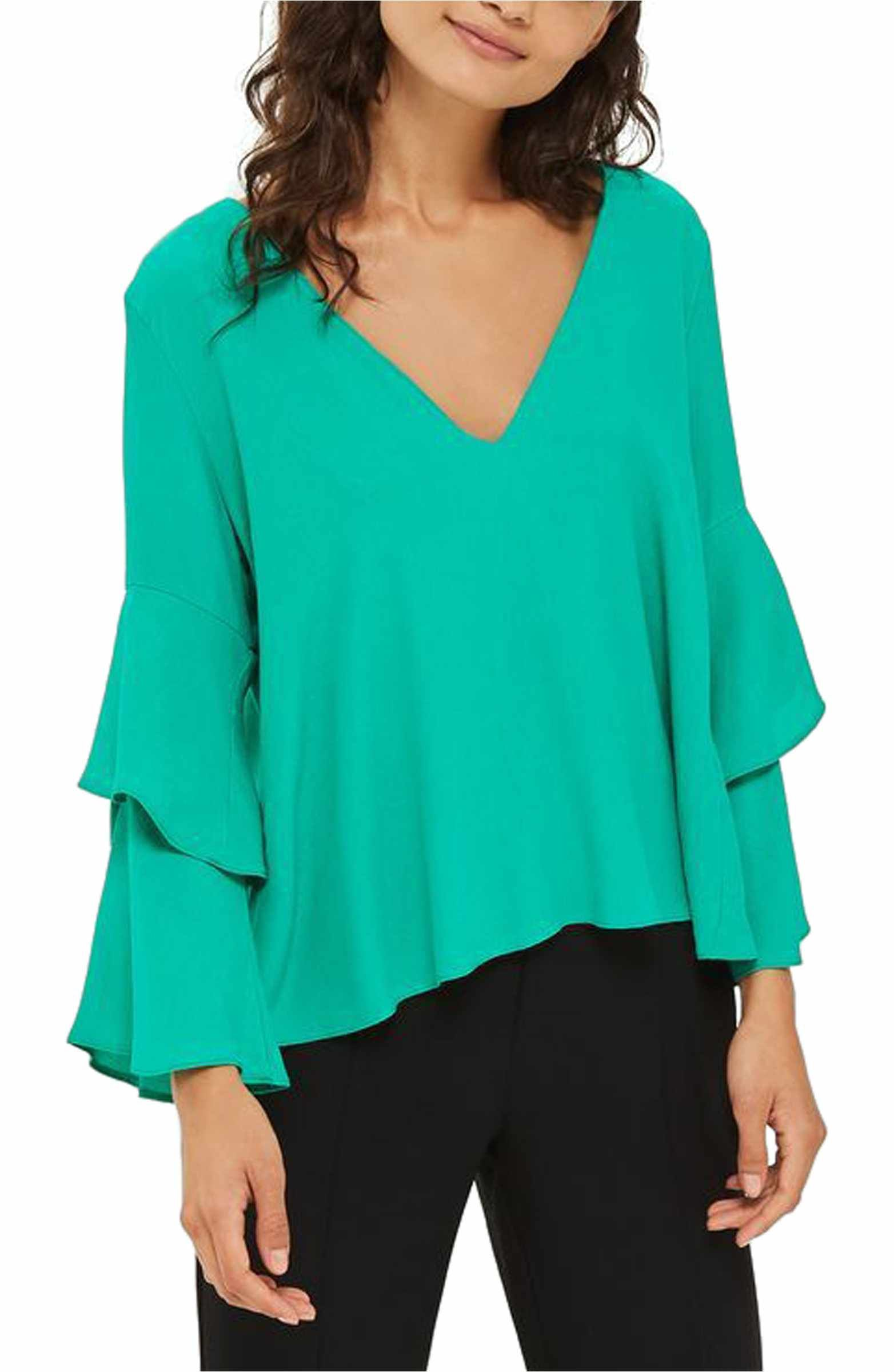 279f29f88a0a9 Main Image - Topshop Double Sleeve Layer Top