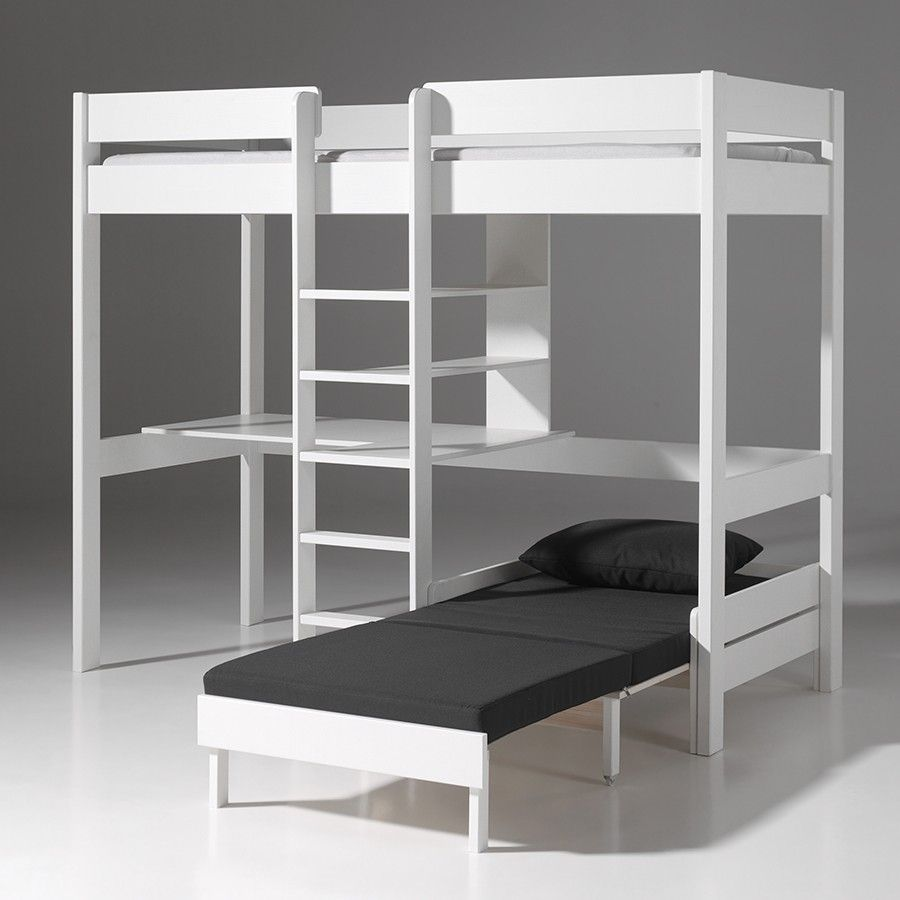 lit mezzanine avec fauteuil et bureau aubin en pin massif coloris blanc kids 39 bedroom. Black Bedroom Furniture Sets. Home Design Ideas