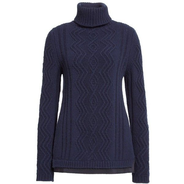 Women's Moncler Braid Knit Wool & Cashmere Turtleneck Sweater ...