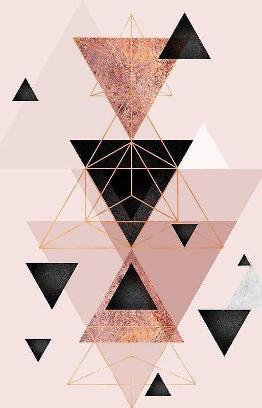 Iphone Wallpaper – Geometrische Dreiecke in Rouge und Roségold – Pinme Wallpaper