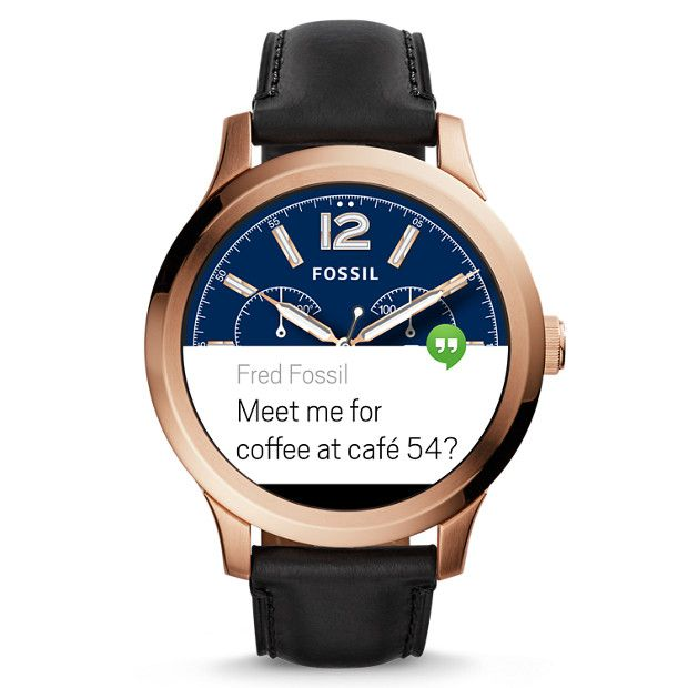 Gen 1 Smartwatch Founder Black Leather Fossil Smart Watch Smart Watch