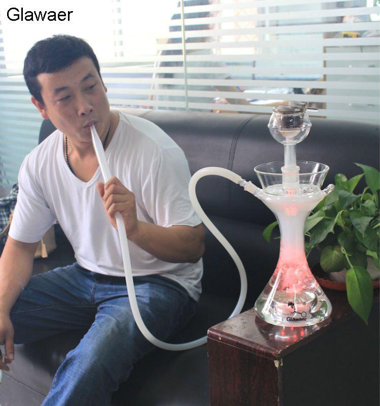 2016 stabiler Glawaer Marke wasserpfeifen glas shisha wasserpfeife mit schüssel, glas rohr mit weißen silikonschlauch Smooking rohr