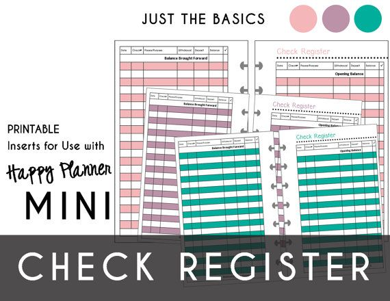 Mini Happy Planner CHECK REGISTERS Just the Basics Pink - printable check register