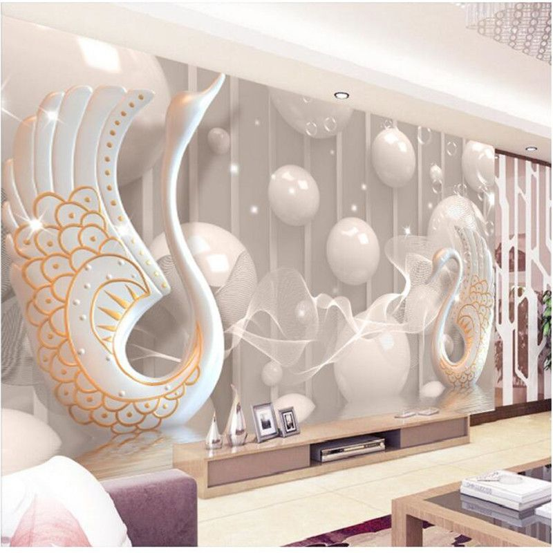 3d wallpaper European White Swan Circle wall painting bedroom