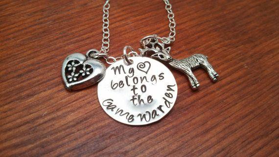 LEO keep him safe Conservation officer law enforcement gamekeeper be safe wildlife my hero Hand stamped Game Warden wife necklace