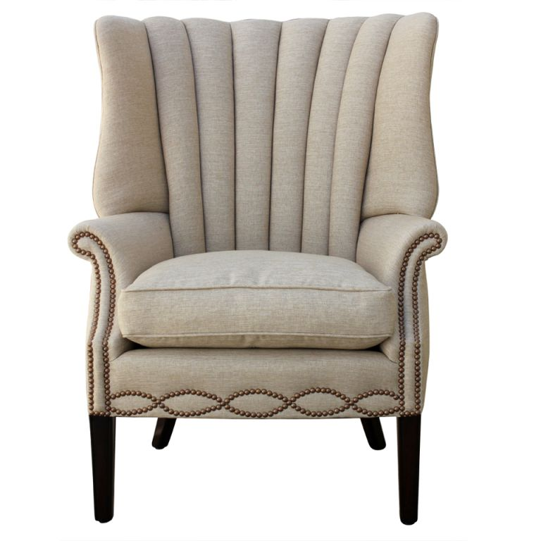 Famechon Sofa With Channeled Back And Seat Walnut Legs: 1940s Channel Back Linen Wing Chair