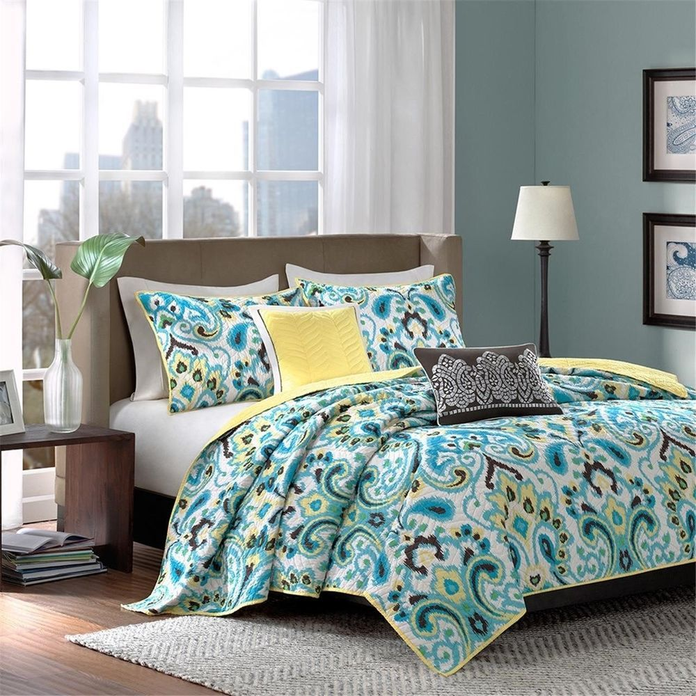 details about pc yellow  teal paisley coverlet quilt bedding set  - pc yellow  teal paisley coverlet quilt bedding set  decorative pillowsmadisonpark contemporary