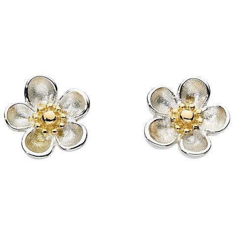 Kit Heath Budding Blossom Sterling Silver Stud Earrings Gold Online At Johnlewis