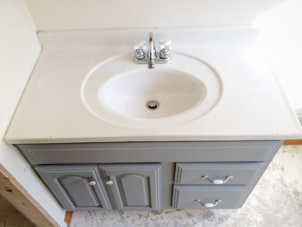 Beau Painted Bathroom Vanity   Michigan House Update