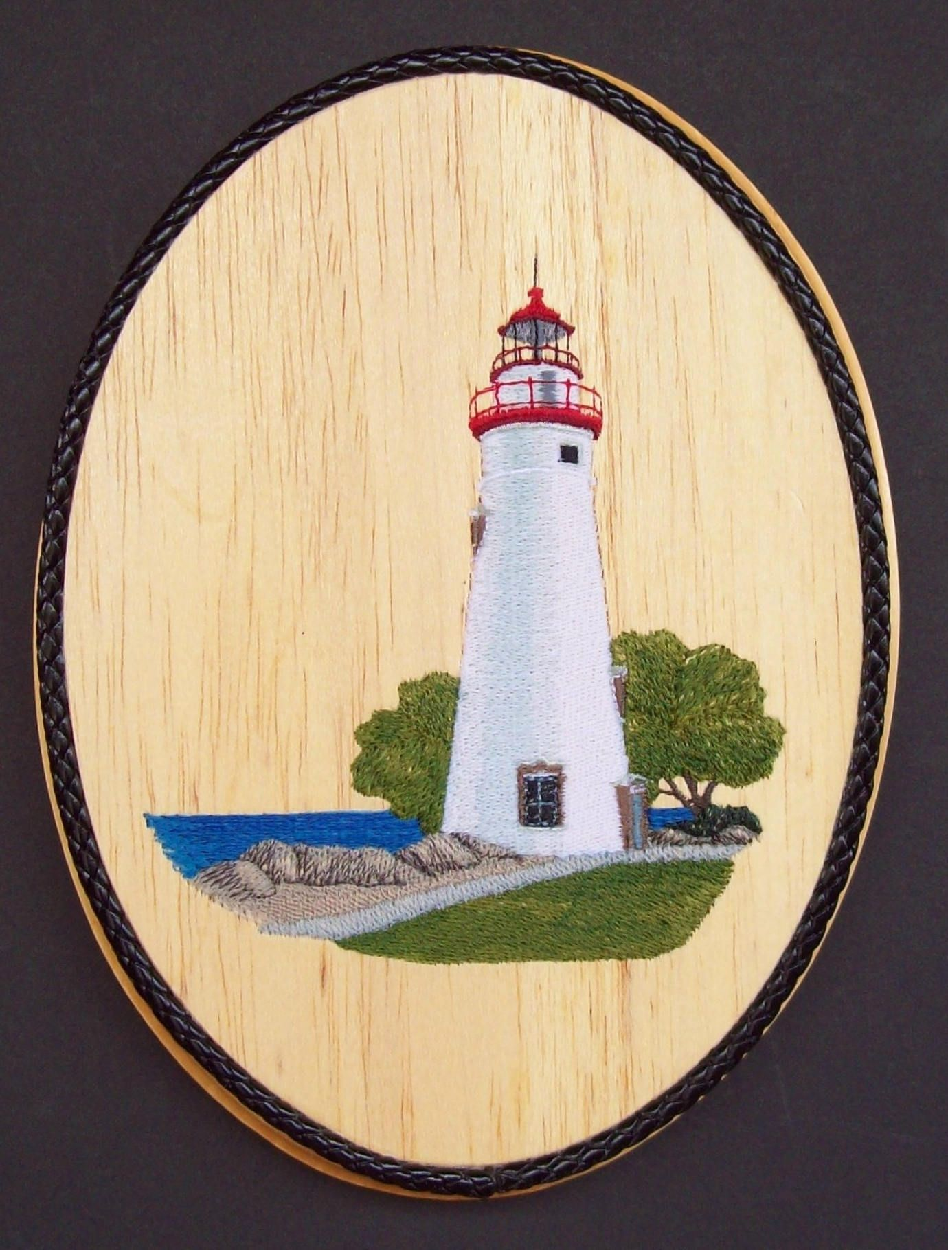 Marblehead Lighthouse Embroidery Wood Art, Ohio Landmark, Nautical ...