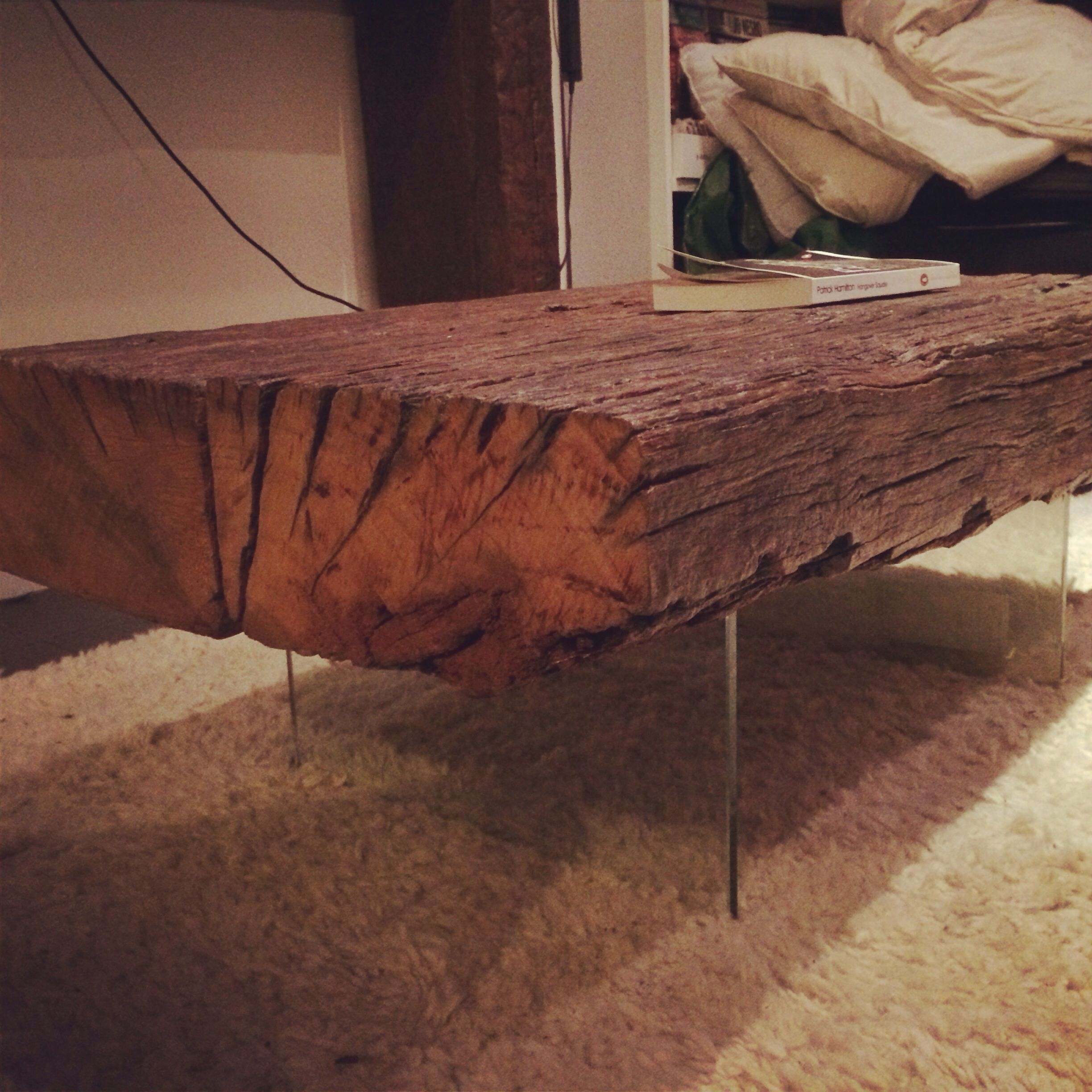 coffee table made from reclaimed red wood railway sleepers on