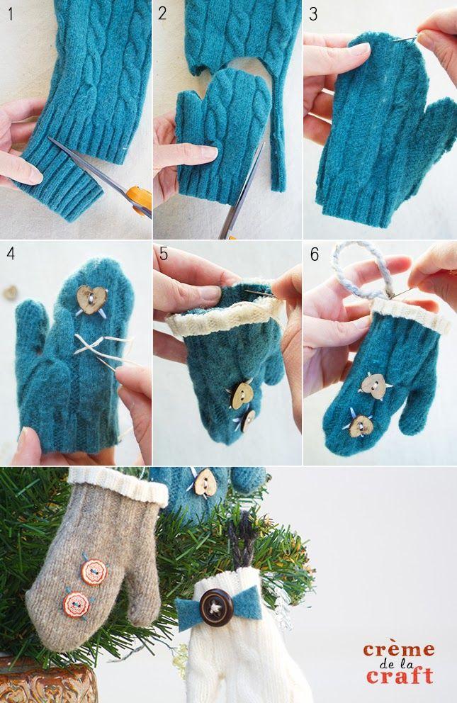 DIY Mini Mitten Ornaments from an Old Sweater Mitten