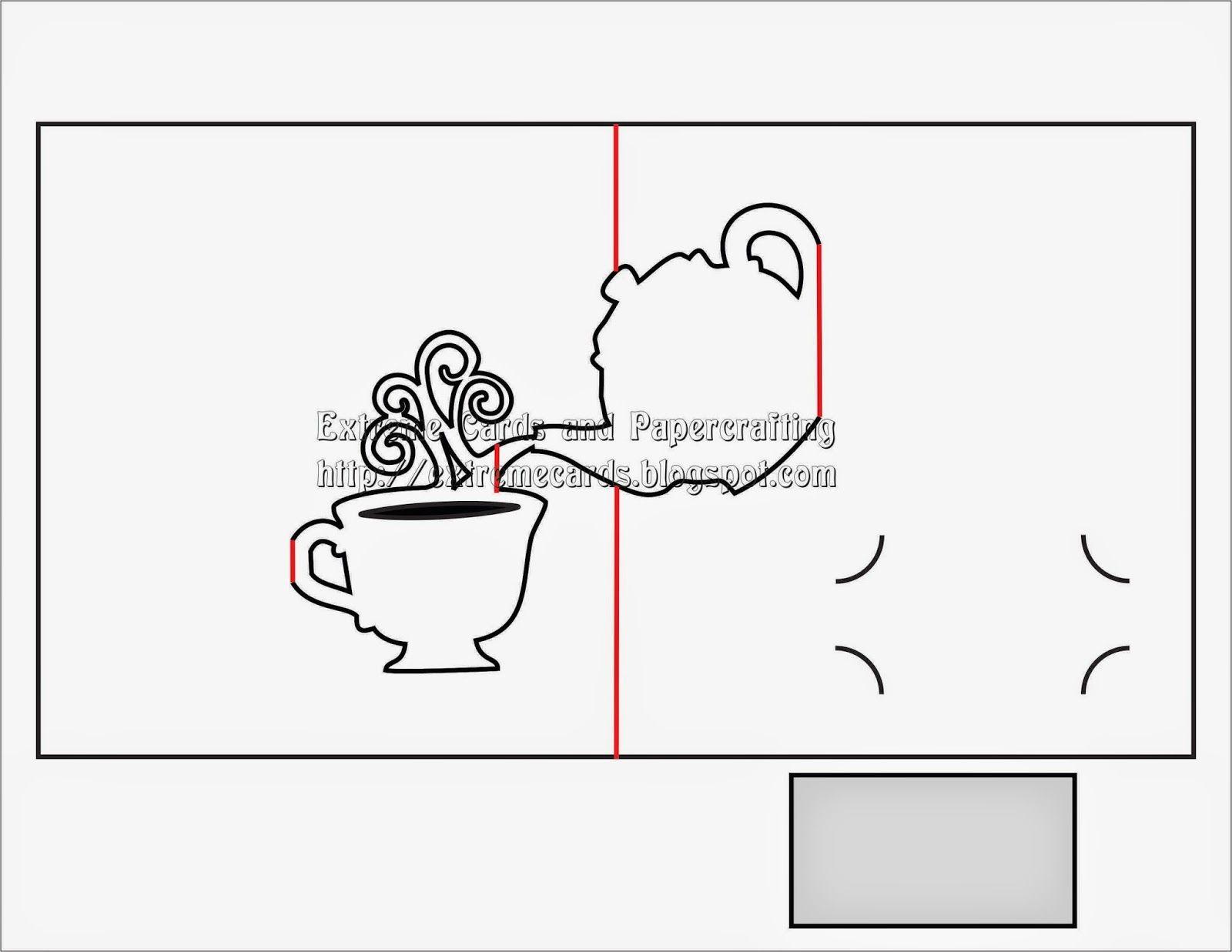 Teapot and Cup Pop Up Card | Pop up card templates, Pop ...