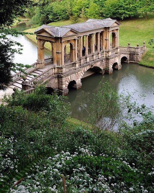 The Palladian Bridge, Wilton Estate Gardens, England (by Saffron Blaze). I