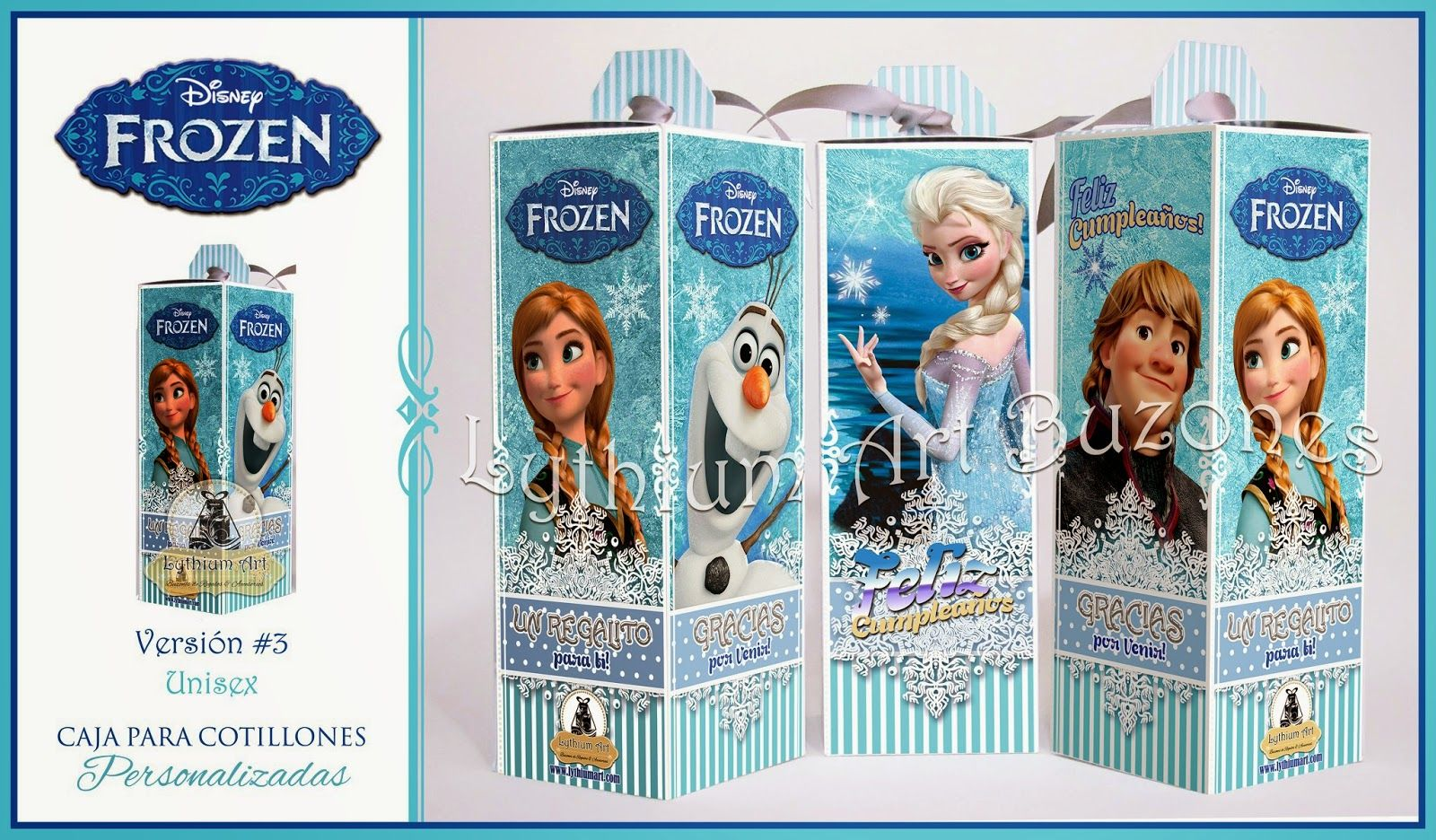 "Cajas para Cotillones Personalizadas ""Frozen""   Lythium Art® Design by: Yil Siritt"