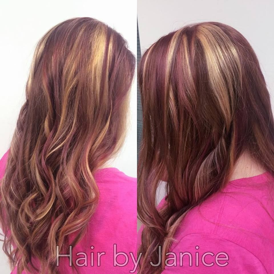 Blonde highlights, Plum Lowlights with Brown Base color. Beauty by ...