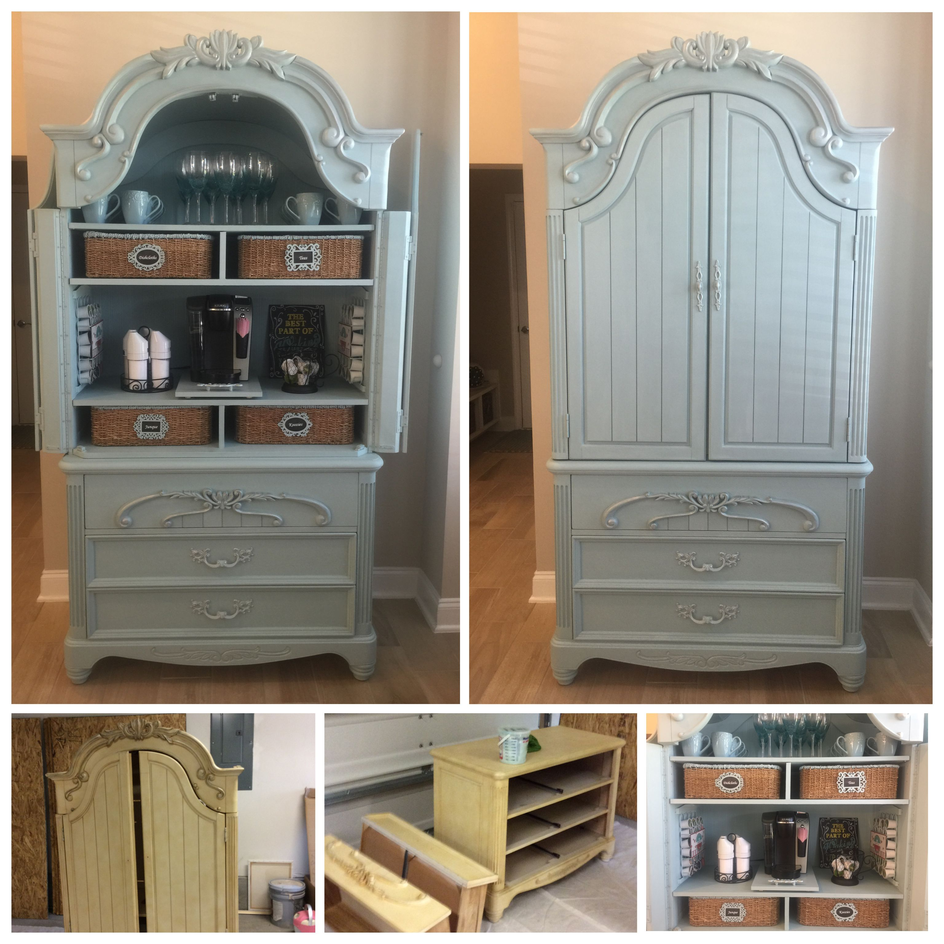 This Concept For Refreshment Stations In Guest Rooms    Chalk Painted  Repurposed Armoire Coffee Bar