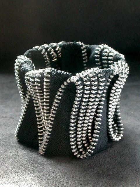ZigZag Black Zipper Cuff In Silver. $180.00, via Etsy.