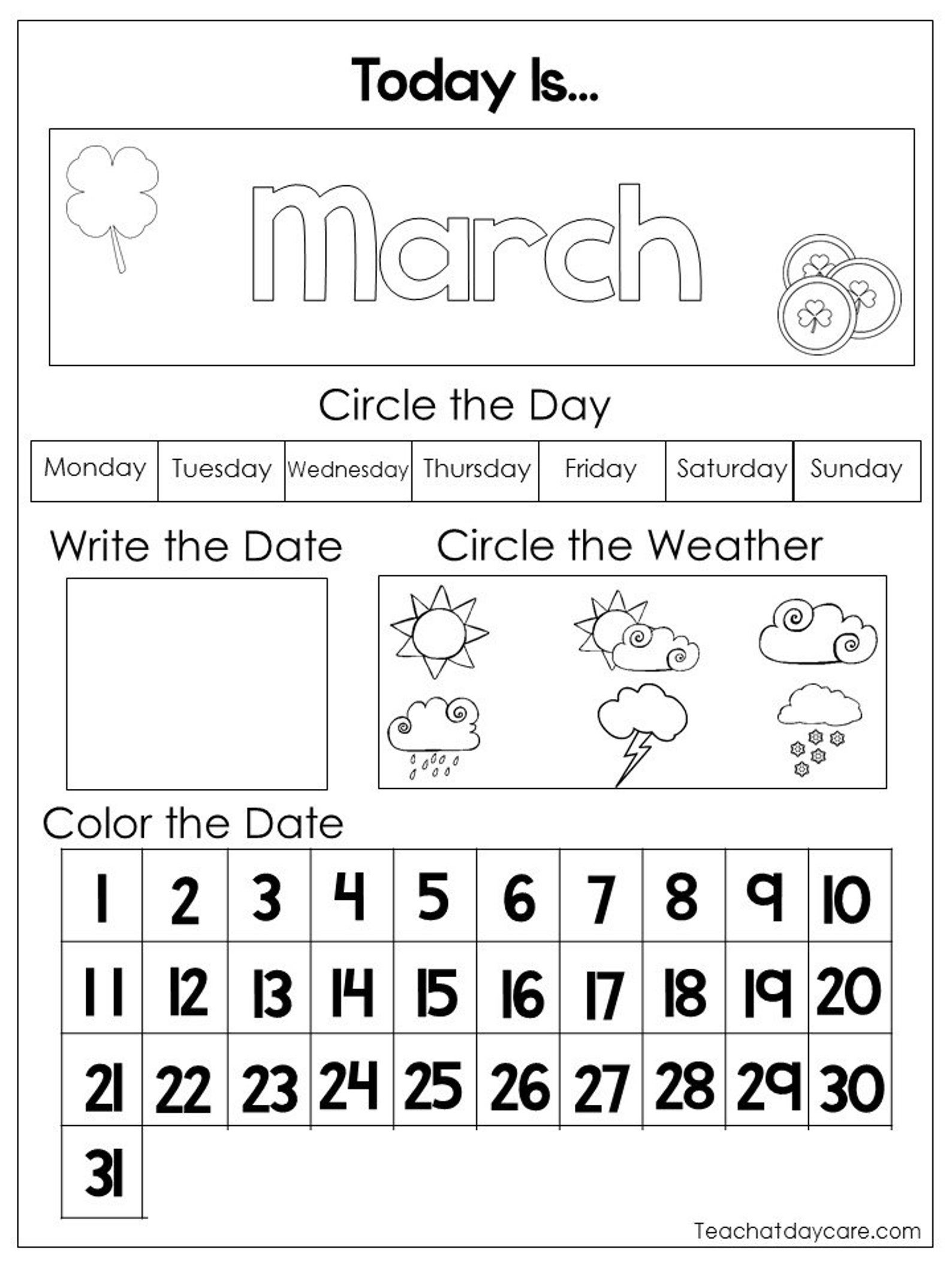 12 Printable Preschool Calendar Worksheet Pages Month Day