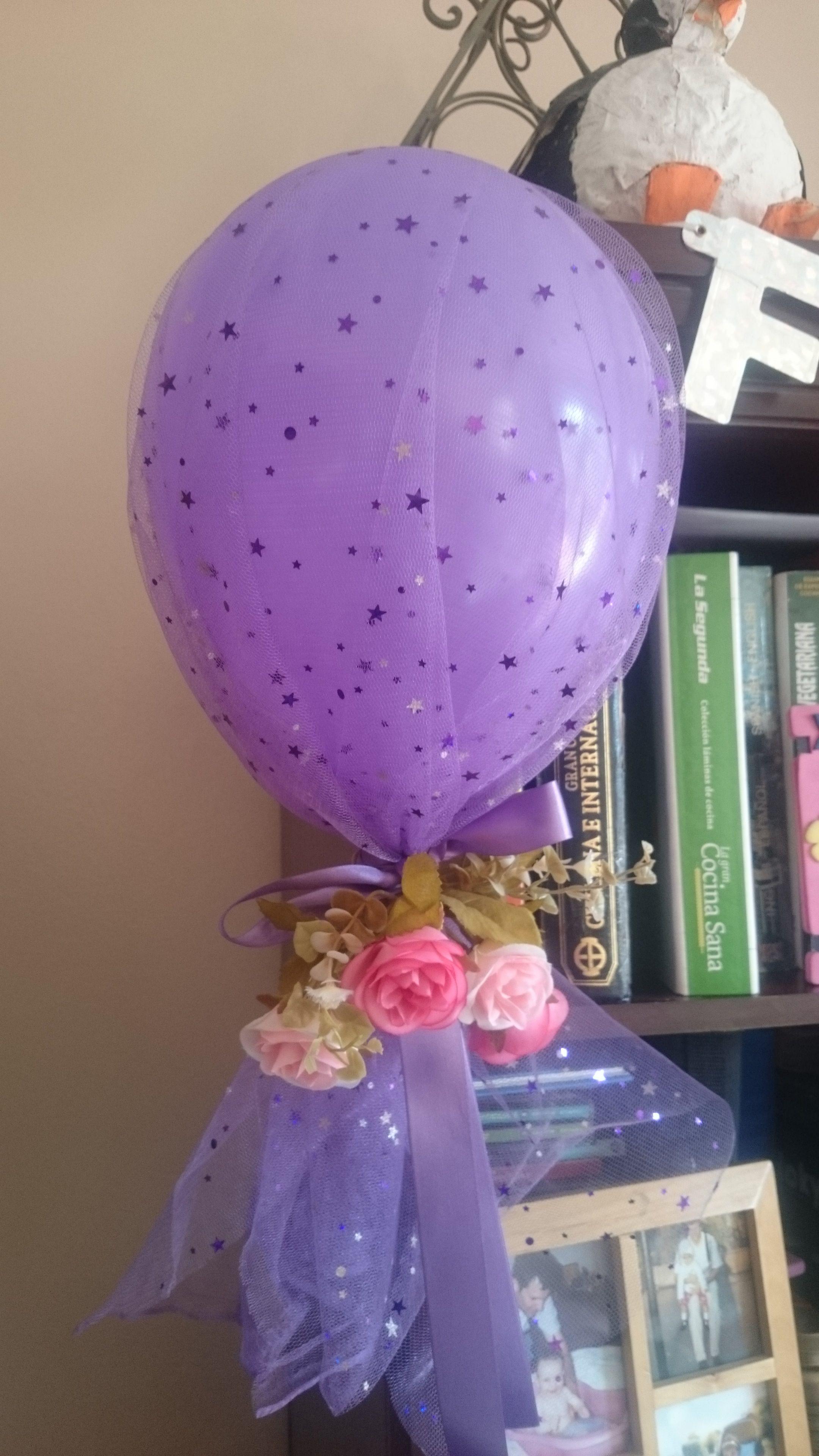 Globo envuelto con tul y rosita para decoracion de fiestas - Decoracion con globos para cumpleanos ...