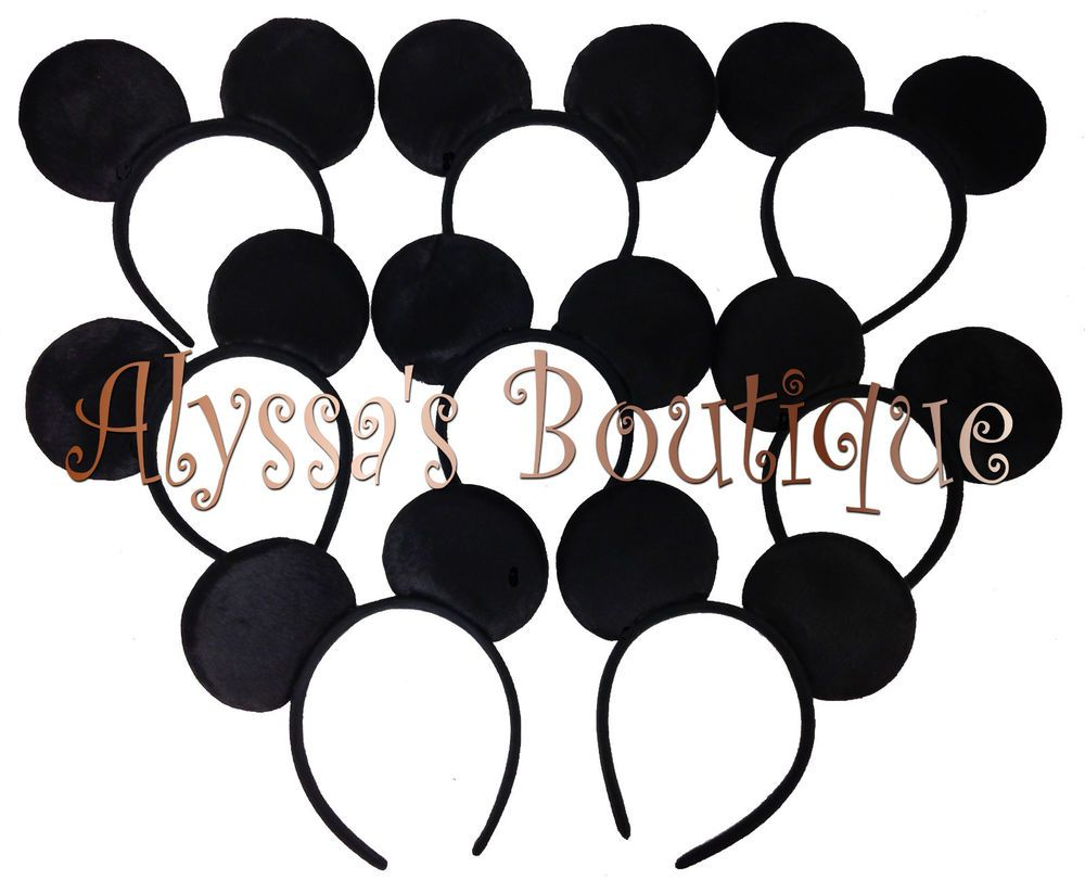 20 pc Mickey Mouse Ears All Black Plush Headbands Birthday Favors Minnie Costume #Unbranded #PartyDressUpBirthdays
