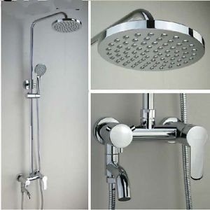 Wall Mounted Exposed Shower Faucet Set Round Rain Shower Head