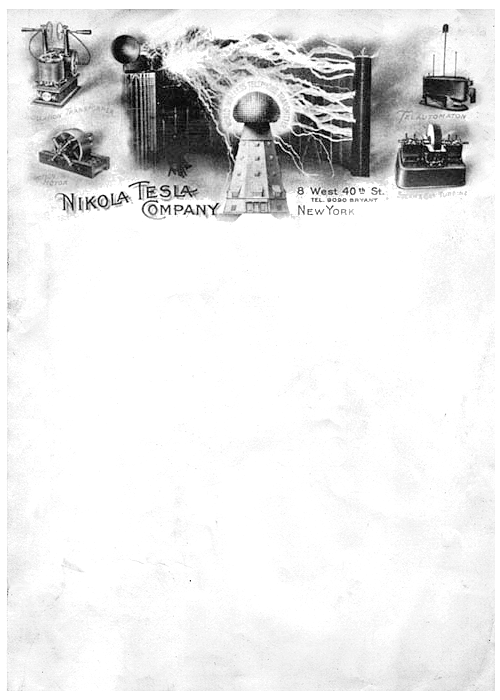 The suitably incredible business letterhead of Nikola Tesla, circa 1900. Inventions featured, clockwise from top-left: Oscillation Transformer, Telautomaton (wireless, remote-controlled devices; pictured is a remotely-operated boat, showcased in 1898), Steam & Gas Turbine, Induction Motor. Centre: Wardenclyffe Tower (never completed).