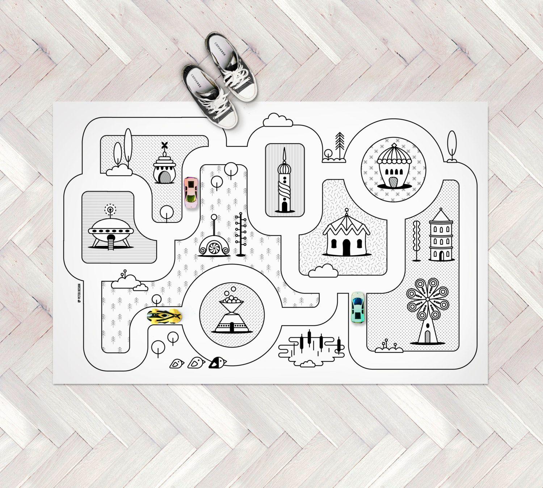 Monochrome Nursery Game Road Map City Rug Kids City Area Rug
