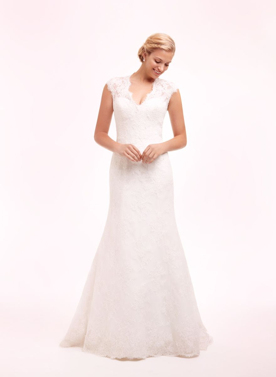 Bridal Gowns: Alita Graham Sheath Wedding Dress with V-Neck Neckline ...