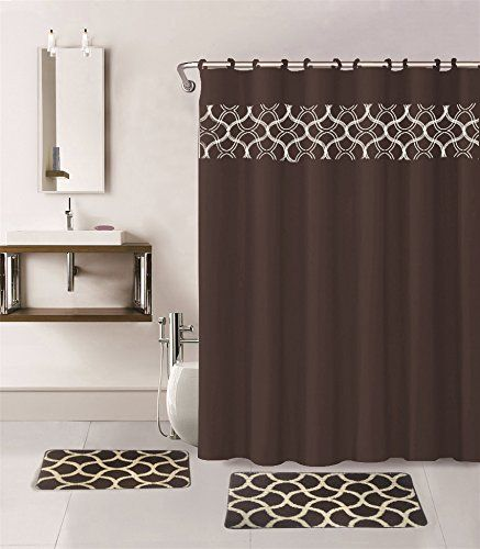 Gorgeous Home 15pc Brown Geometric Design Bathroom Bath Mats Set