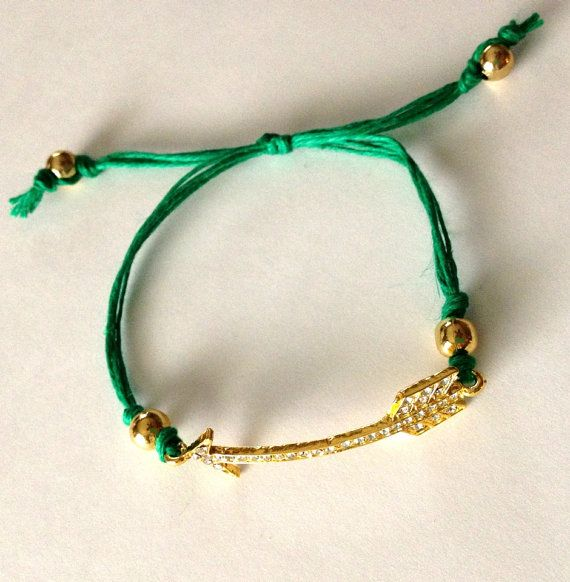 Arrow Charm Gold and Emerald Green Friendship by emmaflhair, $7.00