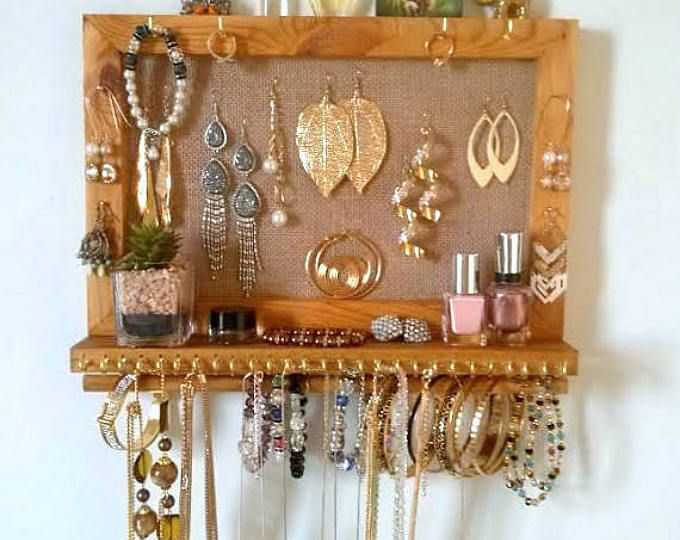 Jewelry organizer with shelf wall necklace holder earrings display