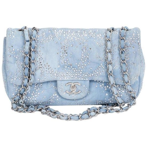 3f9c6170277f Preowned Chanel Rhinestone   Denim Flap Bag ( 3