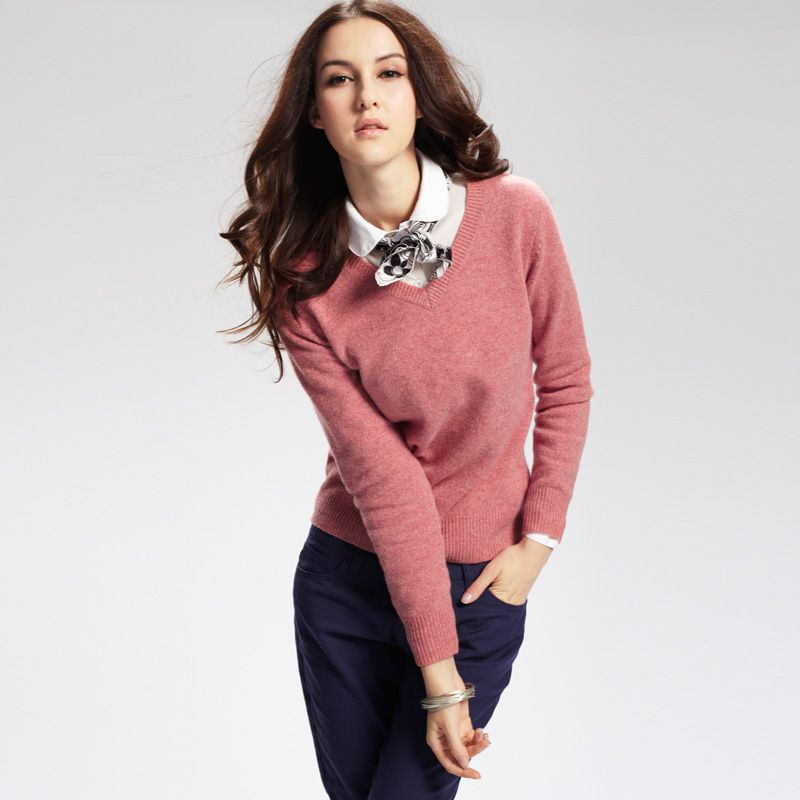Coral VANCL V-Neck Premium Wool Sweater (Women's) Coral SKU:81891 ...