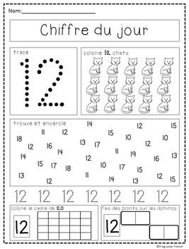 Chiffre Du Jour French Number Of The Day 11 20 Kindergarten Worksheets Sight Words Preschool Math Worksheets Numbers Preschool