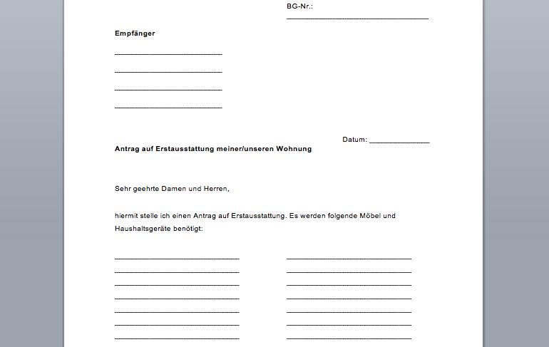 Erstausstattung Formular, Antrag fürs Jobcenter | ideas | Pinterest