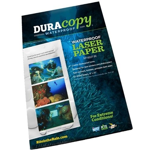 DuraCopy is a synthetic, heat resistant paper created for use in extreme conditions. Use in your photocopier or laser printer on both sides. Not for ink-jet printers. 11 in x 17 in. 25 Sheets