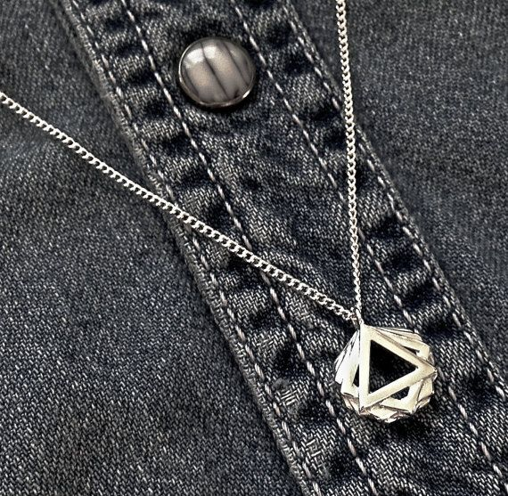 Geometric 3D printed sterling silver pendant necklace by MBDdesign