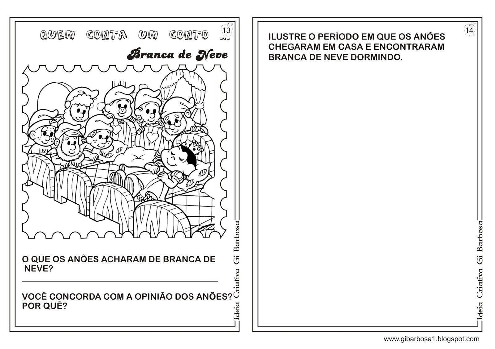 Caderno De Atividades Branca De Neve Projeto Contos De Fada Com