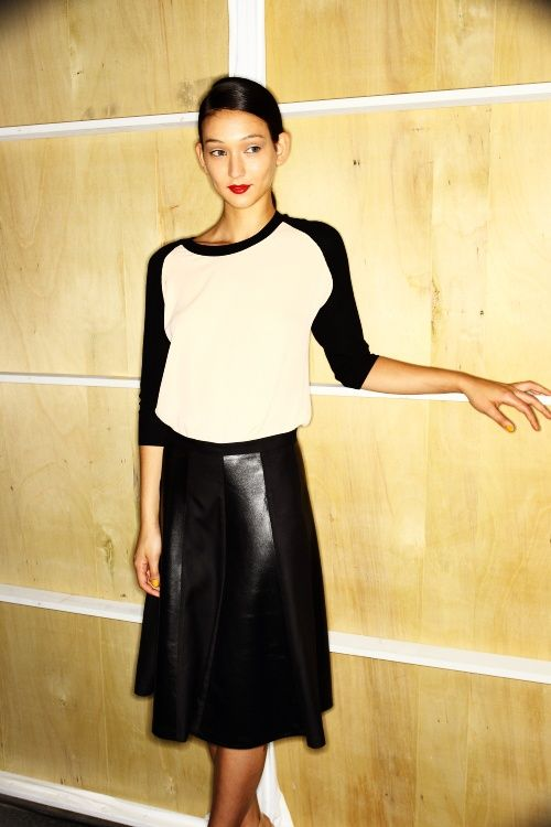 Leather Skirt, baseball tee
