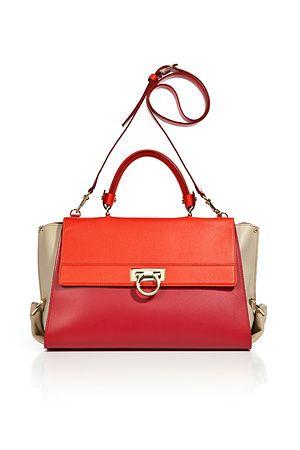 8efeeea121 SALVATORE FERRAGAMO Red Almond Leather Sofia Crossbody Bag