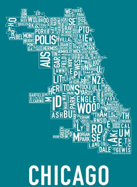 Typography city maps: Chicago